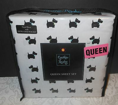 NEW! Cynthia Rowley Scotty Scottish Dog Extra Deep Queen Size Sheets Set Bedding