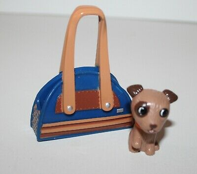 My Scene Barbie Doll Brown Terrier Pup Dog with Blue Carrier Bag