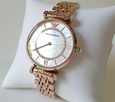 Emporio Armani Women's Watch Rose Gold Band White Pearl Dial AR1909 Genuine VIP