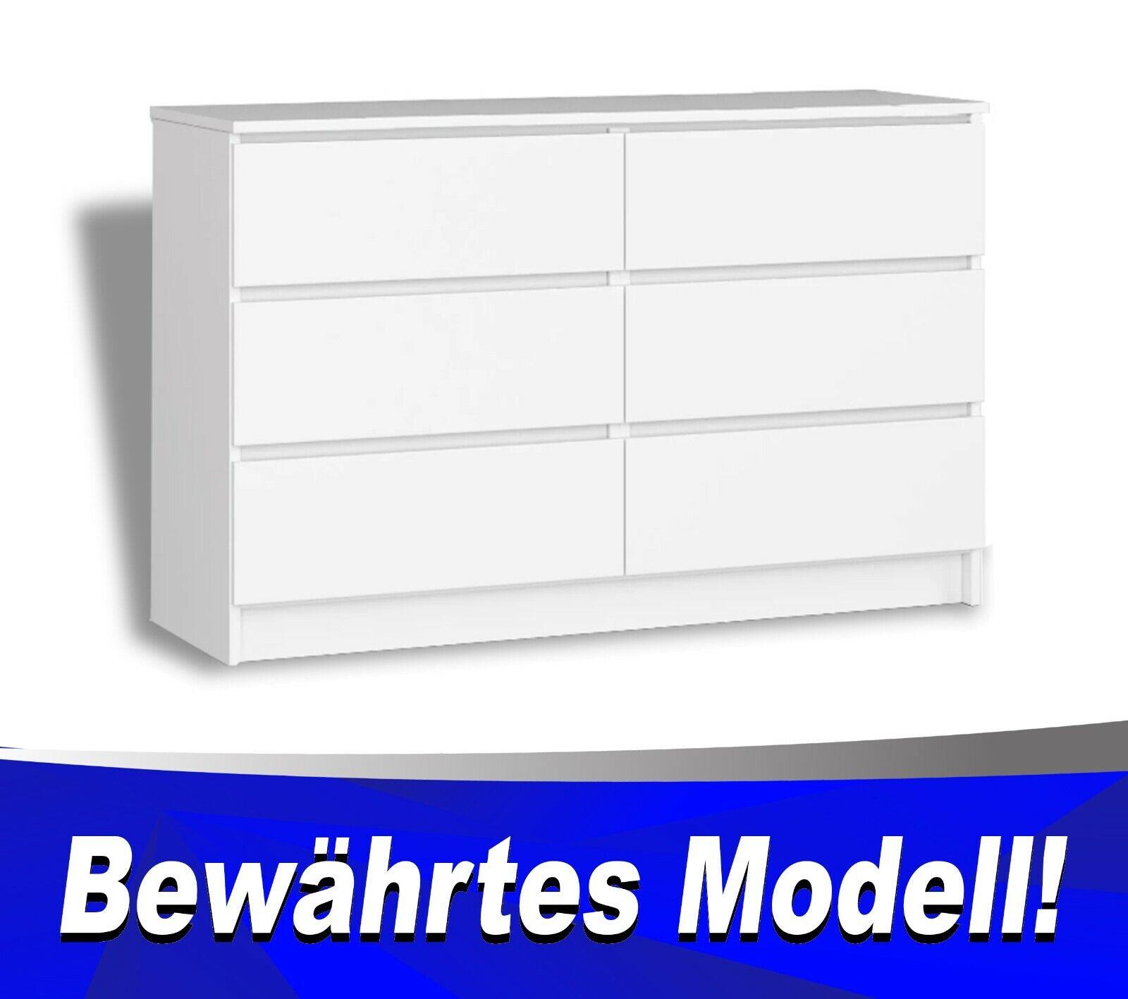 Kommode mit 6 Schubladen weiß, Kommode für Büro, Schlafzimmer. Geprüftes Produkt