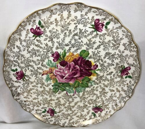 """Vtg Old Foley James Kent Staffordshire England Cake Plate Roses Gold Gilt 11"""""""