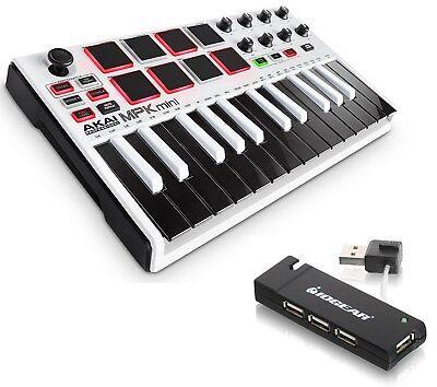 Akai Professional MPK mini MKII MK2 Compact Keyboard/Pad Controller (White) +Hub
