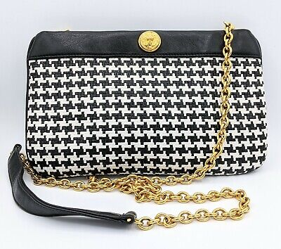 Anne Klein Claderon Houndstooth Crossbody Gold Chain Strap Lion Head Purse VTG
