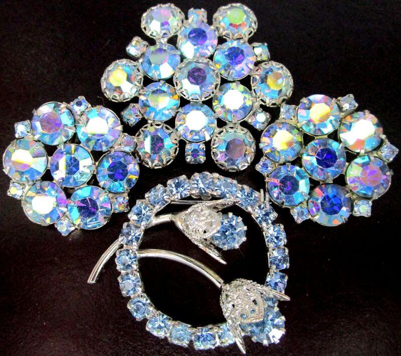 Beautiful Lot of Blue AB Rhinestone Pins & Earrings