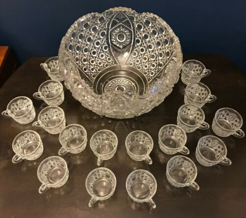 LARGE Antique Punch Bowl & 18 Cups!!! Daisy & Button Pattern Cut Glass Mold
