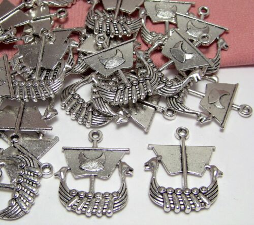 LOT OF 35 SILVER VIKING SHIP CHARMS-JEWELRY MAKING FINDINGS-DROPS