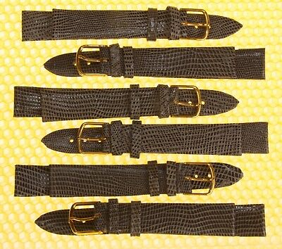 [Lot of 6] 21mm JBC Leather Watch Strap Band GRAY Lizard-Grain <<NWoT>>