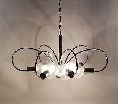 70s Sciolari Style Swag Chrome Sputnik 6-Arm Italian Chandelier Light - Cosmic!