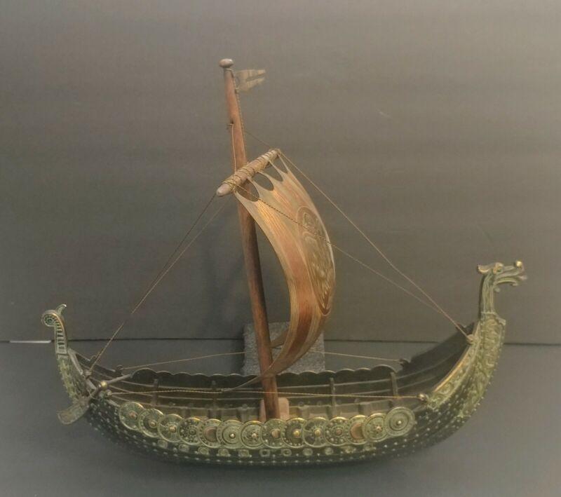 VINTAGE Large Bronze Viking Ship Iron Art Copenhagen Denmark