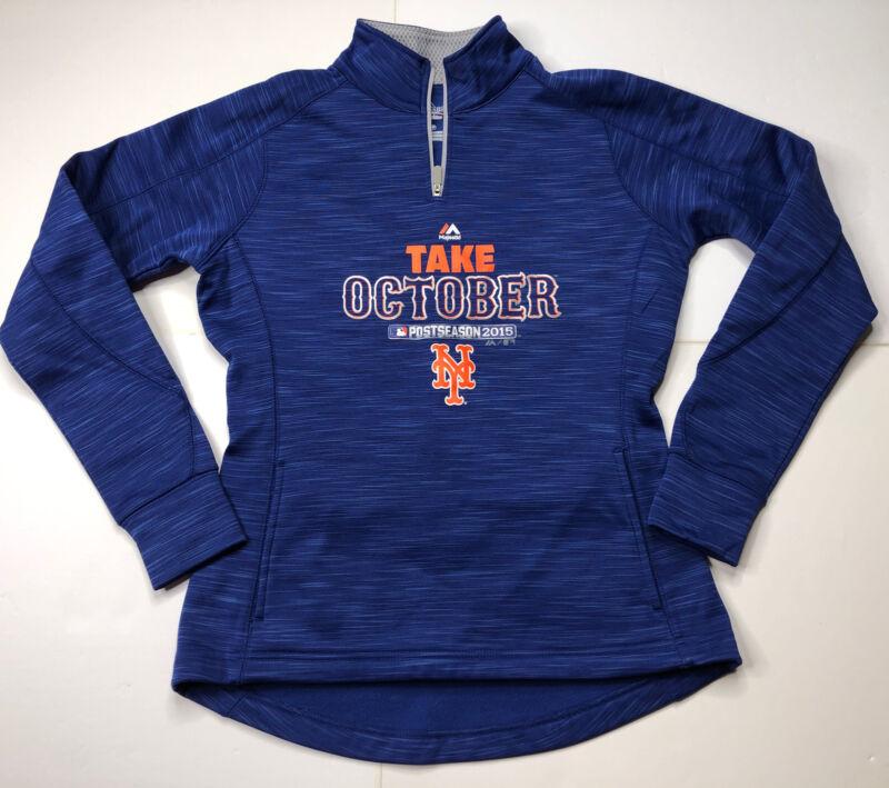 New York Mets Majestic Take October Postseason Pullover ZIPPER 1/4 WOMENS Small