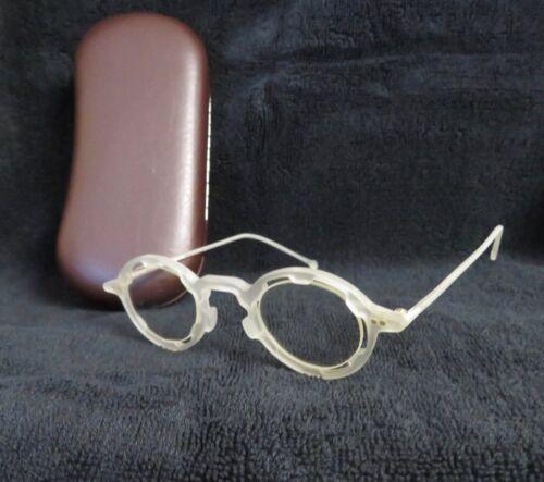 NOS, Rare l.a. Eyeworks Vintage Regumba eyeglasses frosted white, round, w/case