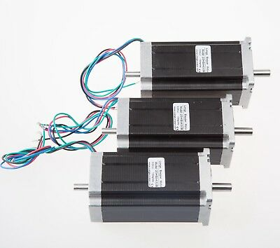Free Ship 3 Pcs Nema 23 Dual Shaft Stepper Motor 425 Oz.in 3.0a 4 Leads Cnc