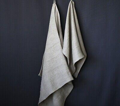 100% Linen Bath Towel - Soft Gray/Beige Waffle Linen Bath Sh
