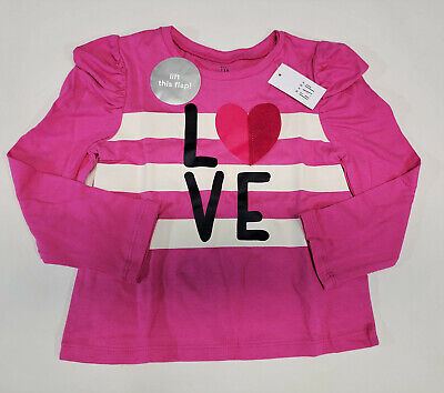 NWT Baby Gap Toddler Girls Size 12 18 24 Months or 4t Pink Love Shirt Top