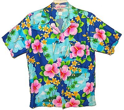 Sz L Vin 60's-70's HUKILAU FASHIONS Hawaiian Aloha Shirt Tropical Floral Cotton