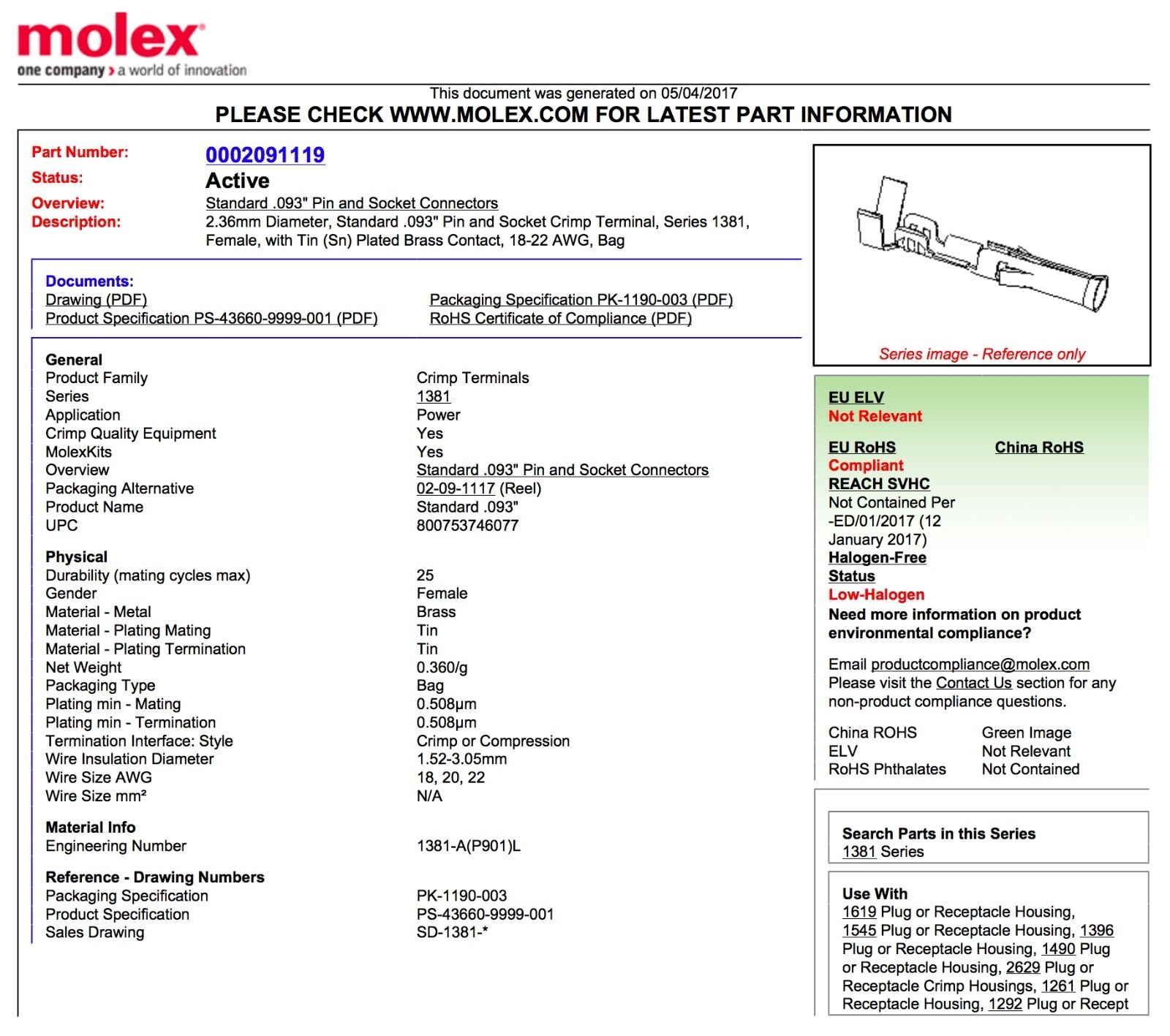 Molex male n female 236mm standard 093 crimp pin wire gauge 18 molex male n female 236mm standard 093 greentooth Gallery