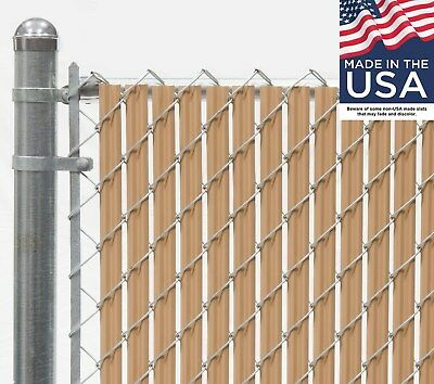 6 ft High Beige Wave Slat™ Single Wall Privacy Chain Link Fence Slats Slats Chain Link Fences