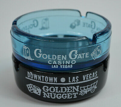 Golden Gate and Golden Nugget Las Vegas Casino Collectible Vintage Ashtrays