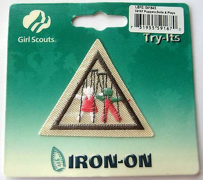 Retired Girl Scout Brownie Puppets Dolls Plays Try It Acting Stage Patch Badge