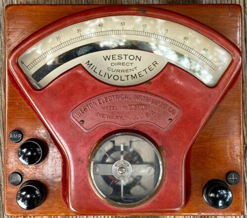 Early Vintage 1901 Weston Model 1 Direct Current Millivoltmeter TESTED