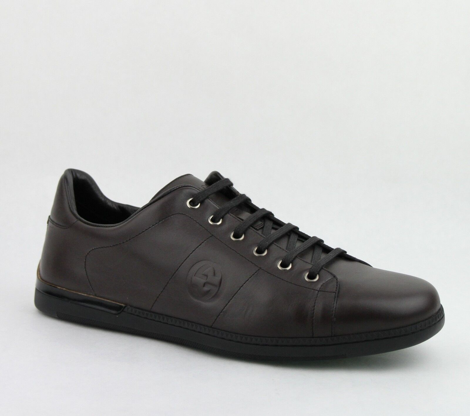 $620 New Gucci Men's Leather Lace-up Cocoa Sneakers Shoes Brown 329843 2140