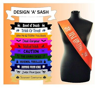Halloween Custom Made Sash Sashes Fancy Dress Zombie Best Costume Trick or