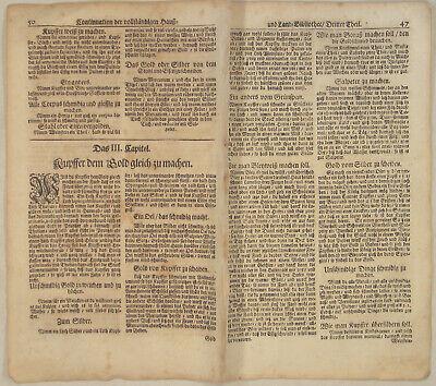 GOLD Farbe KUPFER Silber Orig Doppelblatt um 1690 Goldfarbe CHEMIE Quecksilber