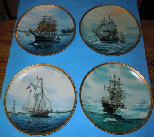 Tom Freeman Greatest Sailing Ship Collector Plates Complete 8 pc Set 22K Edges