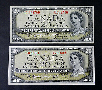 1954 Set  of two $20 Bank of Canada Banknotes Devil Face & Modified