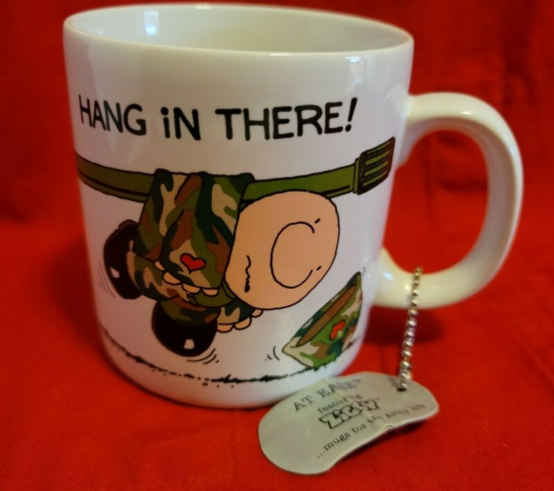 """ZIGGY Coffee Mug Cup """" Hang In There """" Military Army Tank Dog Vintage Tom Wilson"""