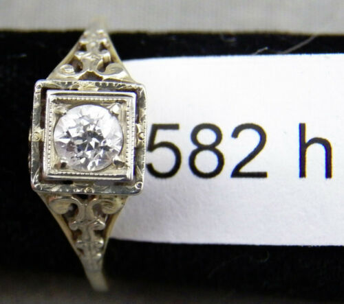 Vintage 14K Gold Filigree & Diamond Ring, 1920s