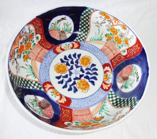 1880s Japanese Imari Pottery Bowl w. Landscape & Floral Motifs (***)
