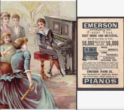 Antique Emerson Piano 1891 © Parlor Recital Boy Victorian Advertising Trade Card