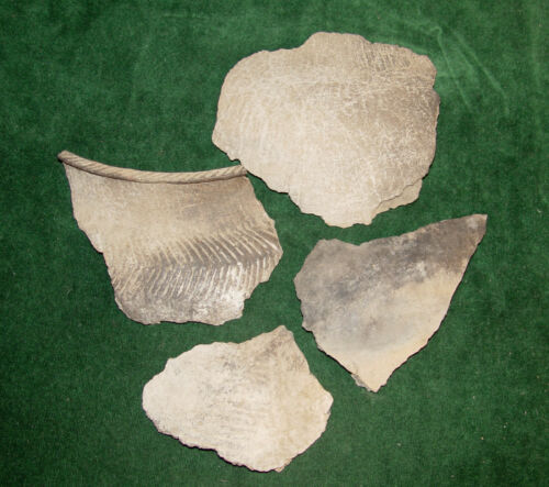 Native American Indian Large Incised Mississippian Pottery Shards - TN, AL or GA