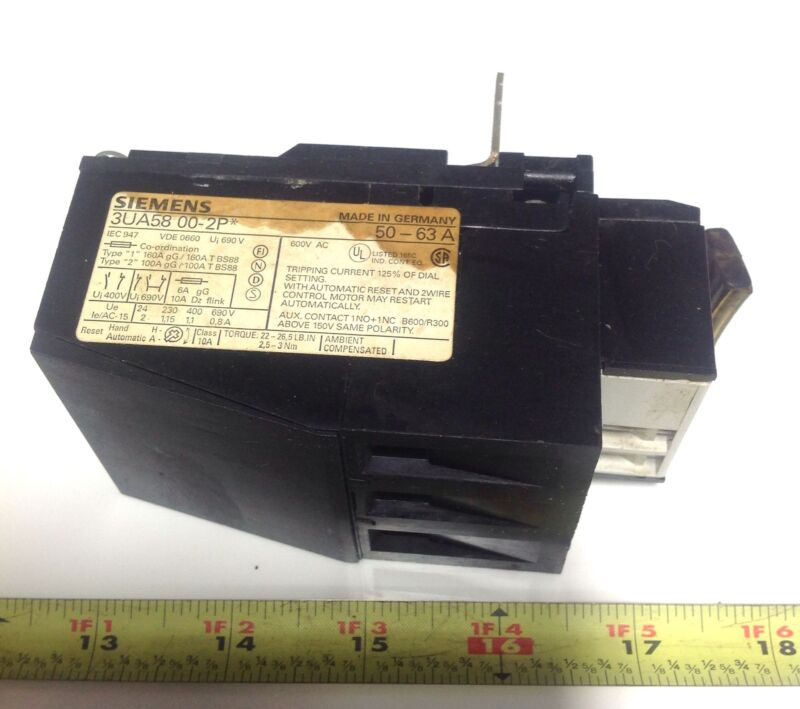 SIEMENS OVERLOAD RELAY 50-63 A 3UA58 00-2P *PZB*