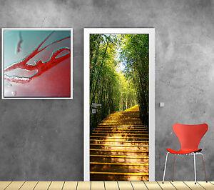 Sticker de porte trompe l 39 oeil d co escalier bambous r f for Sticker decoration de porte trompe l oeil escalier