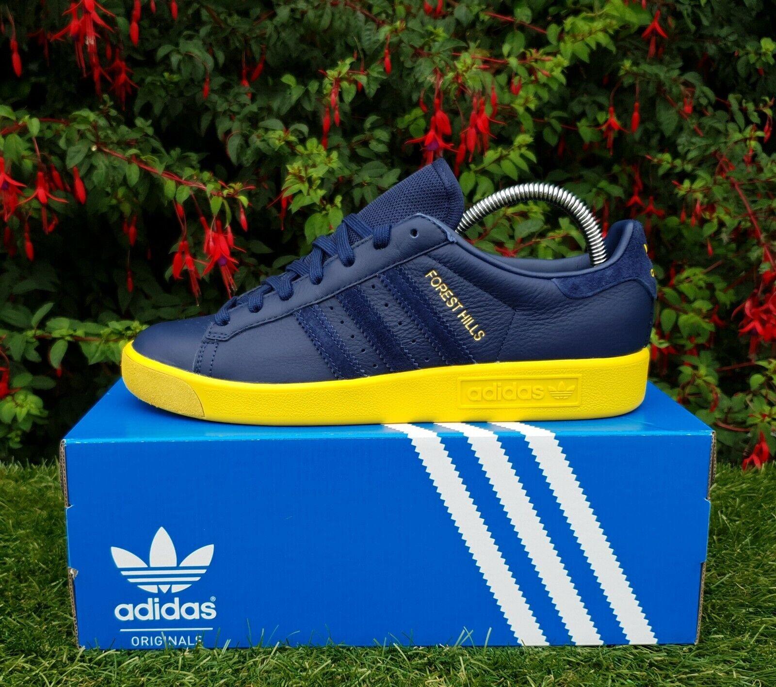 BNWB Genuine adidas originals Forest Hills Indigo Yellow Trainers UK Size 6