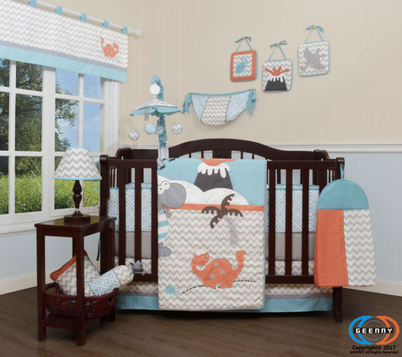 13PCS Boy Dinosaurs Baby Nursery Crib Bedding Sets  Holiday Special
