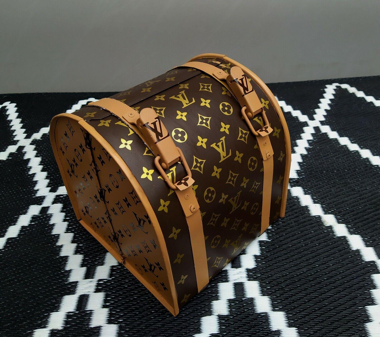 Boîte métal « type sac à main » marron  & beige