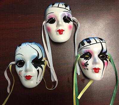 "Lot of 3 Theater/Mardi Gras/Ceramic/Porcelain Clay 4"" Masks Hanging Wall Art"