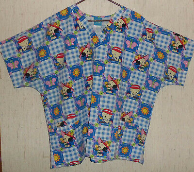 EXCELLENT WOMENS Baby Popeye & Baby Olive Oyl GINGHAM CHECK SCRUBS TOP  SIZE 2XL