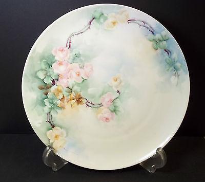 "Hand painted floral plate MZ Austria 8"""