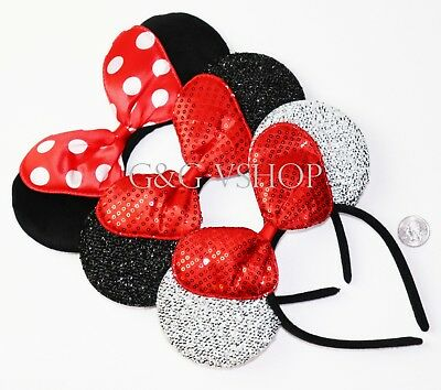 3 Minnie Mouse  Red Silver Bow-Mickey Mouse Ears Headband Disney adult/kid - Minnie Mouse Red Party Supplies