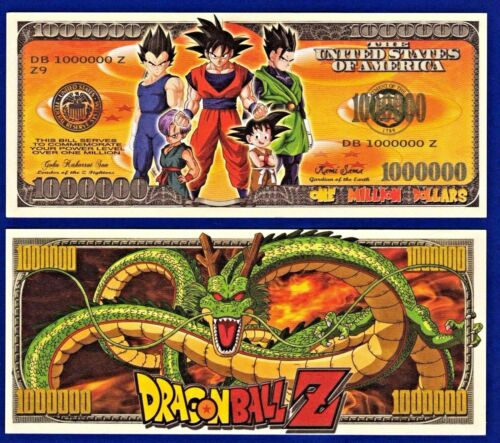 1-Dragon Ball Z  Dollar Bill  -NOVELTY- MONEY-W/clear protector sleeve ITEM -E4