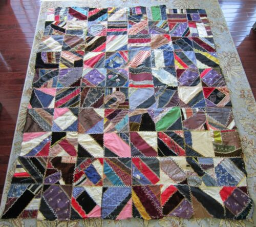 ANTIQUE SILK AND VELVET CRAZY QUILT TOP 51 BY 63 INCHES