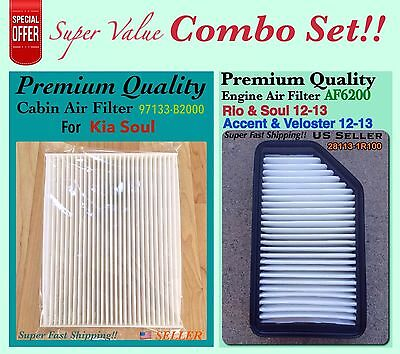 Combo Set Engine And Cabin Air Filter For Kia Soul 2014 2017 OEM 97133 B2000