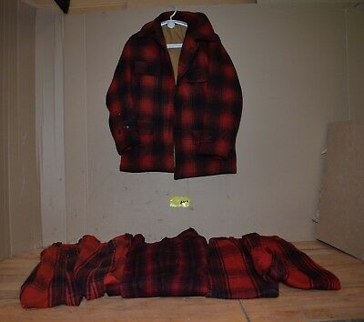 5b768f02eefce 1950's 60's wool buffalo plaid hunting jacket and 3 pair pants collectible  HC1