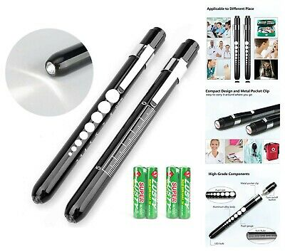 2-count Medical Pen Led Nurse Penlight With Pupil Gauge Battery Operated