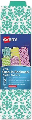 Avery Snap-in 5 Tabs Bookmark Plastic Dividers 8.5 X 11 Binder Large Format