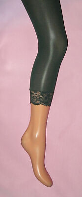 Dark Green Tights (Dark Green Footless Tights with Lace Trims. Ladies cropped)